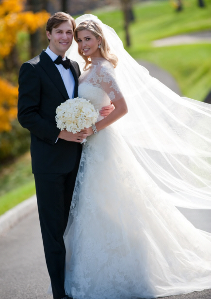 Ivanka Trump in lace Vera Wang gown